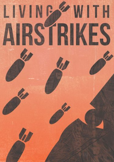 living with airstrikes book cover artwork with title text