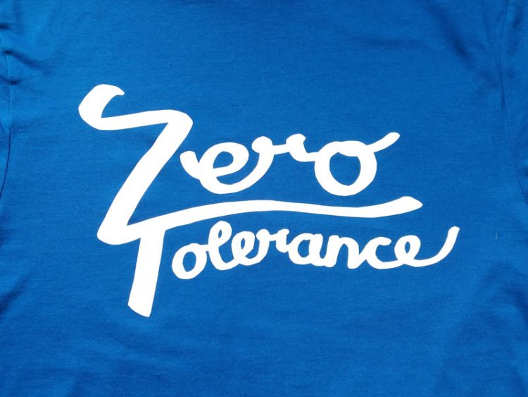 zero tolerance handlettering transfer on tshirt fabric