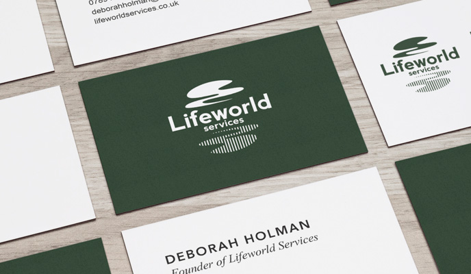 lifeworld services business card design mockup